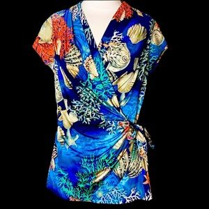 Cache Under the Sea Short Sleeve Faux Wrap Top